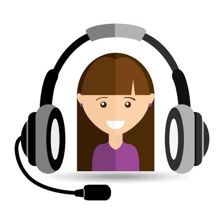 call centre girl: girl purple shirt headphones for support vector illustration eps 10 Illustration