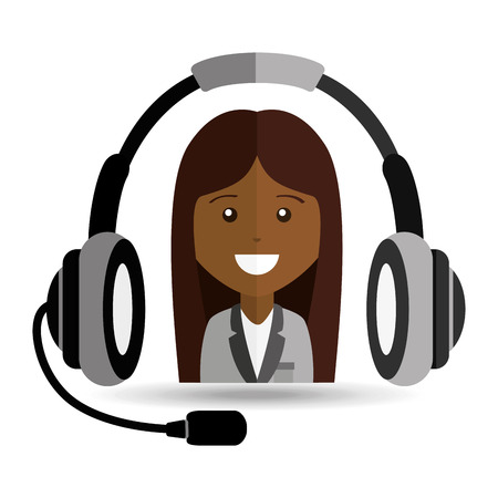afroamerican girl headphones for support vector illustration eps 10 Illustration