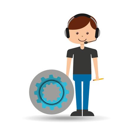 guy operator help service gear vector illustration eps 10 Illustration