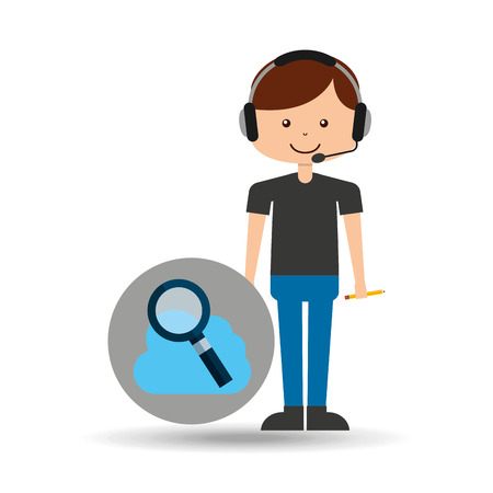 switchboard operator: guy operator help service search cloud vector illustration eps 10 Illustration