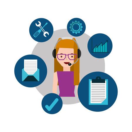 representative: girl with glasses support operator assistance vector illustration eps 10 Illustration
