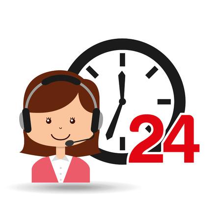call centre girl: female call center 24 clock service vector illustration eps 10