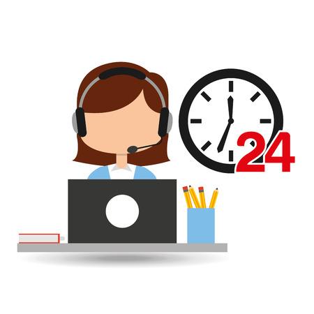 availability: female call center 24 clock service laptop office vector illustration eps 10