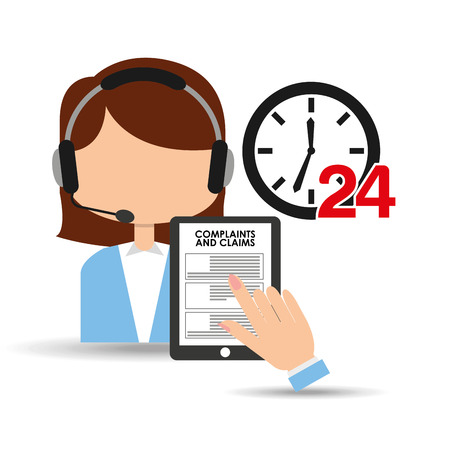 centre d'appels Femme 24 horloge plaintes de service sinistres illustration vectorielle eps 10 Vecteurs