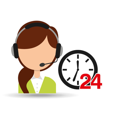 call centre girl: female call center 24 clock support vector illustration eps 10