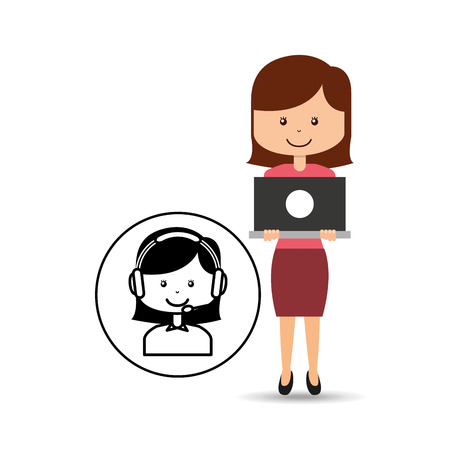 call centre girl: support assitance concept girl with woman operator vector illustration eps 10