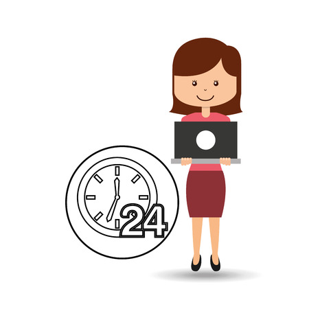 call centre girl: support assitance concept girl with clock 24 service vector illustration eps 10 Illustration