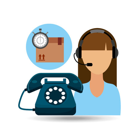 call centre woman working delivery time vector illustration eps 10