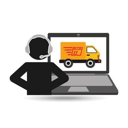 opérateur de centre d'appel de livraison en ligne livraison rapide camion vector illustration eps 10