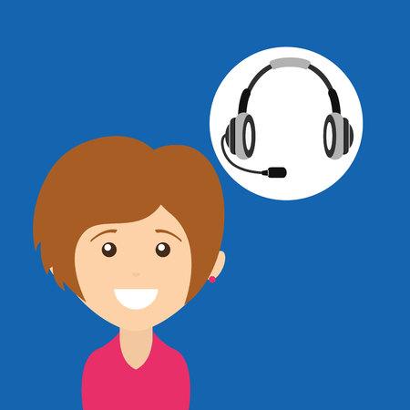 call centre girl: girl smiling headphones for support vector illustration eps 10 Illustration