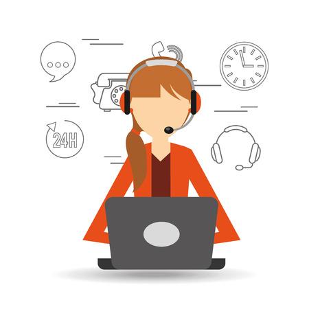 call centre girl: avatar girl orange jacket contact us information service vector illustration eps 10