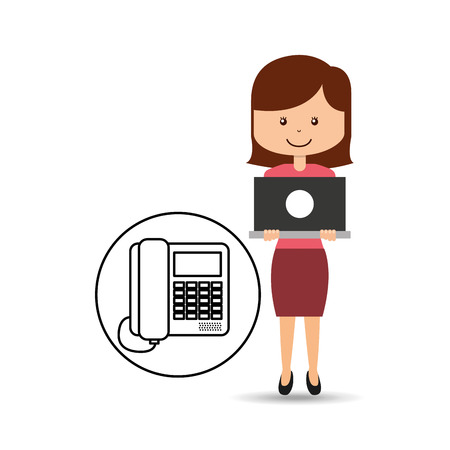 call centre girl: support assitance concept girl with line service vector illustration eps 10