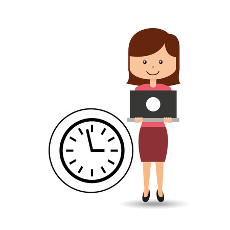 support assitance concept girl with clock time vector illustration eps 10 Illustration