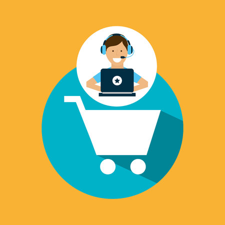 support center with shopping cart vector illustration eps 10