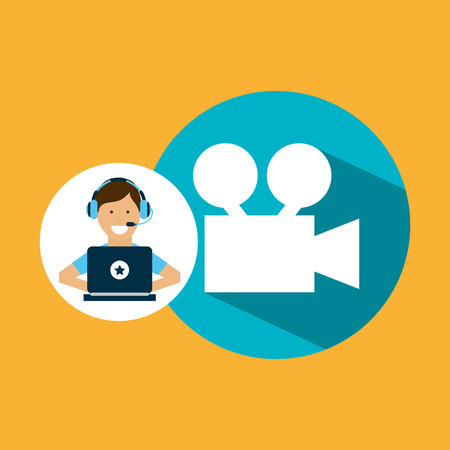 video call: support center with camera film vector illustration eps 10