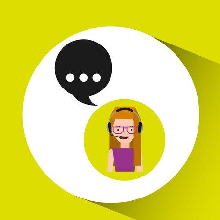 call centre girl: lady work call center bubble speech vector illustration eps 10