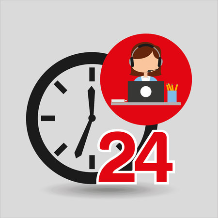 female call center 24 clock service laptop office vector illustration eps 10