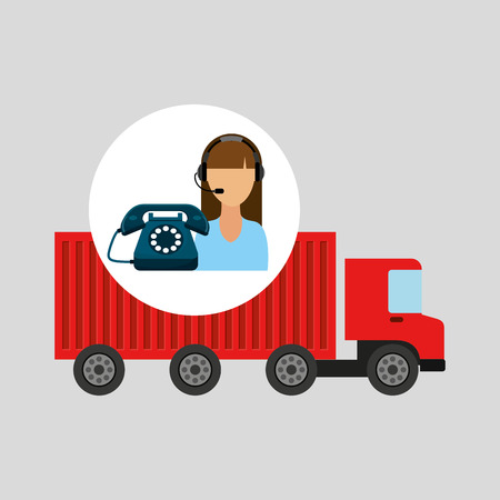storehouse: call centre woman working truck delivery logistic vector illustration eps 10