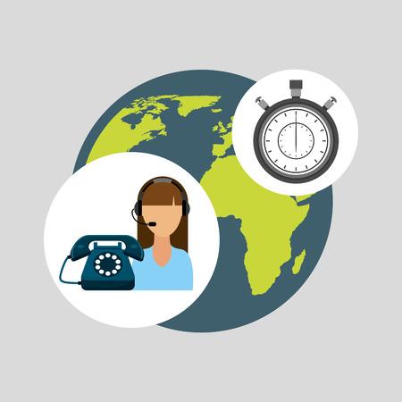 computer operator: call centre woman working globe clock vector illustration eps 10