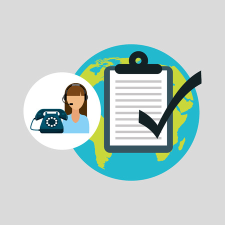 call centre woman working globe check list vector illustration eps 10