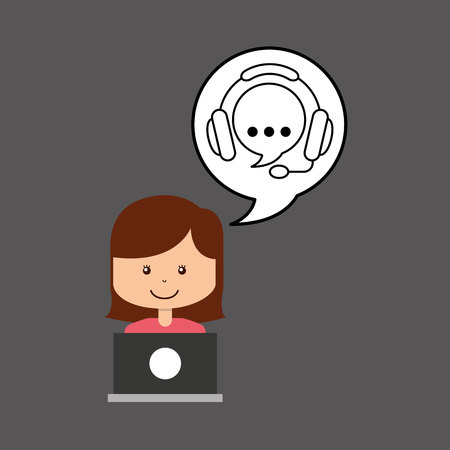 call centre girl: support assitance concept girl with bubble speech vector illustration eps 10 Illustration
