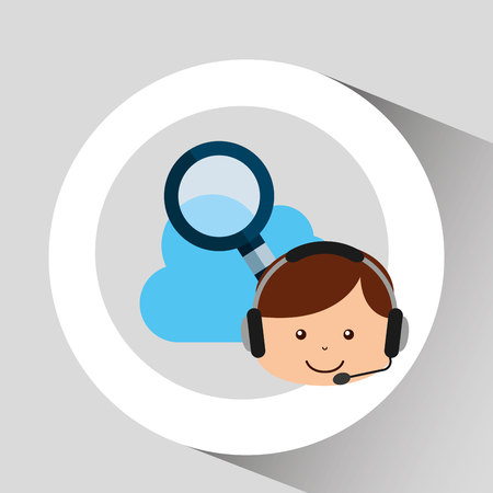guy operator help service search cloud vector illustration eps 10 Illustration