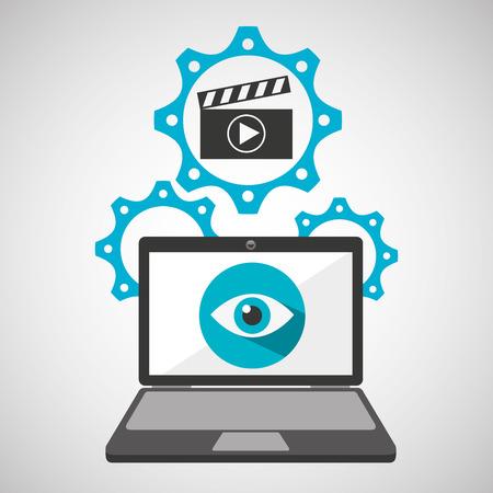 computer security movie social network concept vector illustration eps 10 Illustration