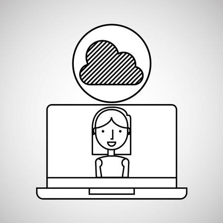 dealing: character draw cloud technology social media vector illustration eps 10 Illustration