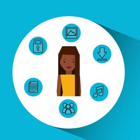 character girl technology social media icon vector illustration eps 10