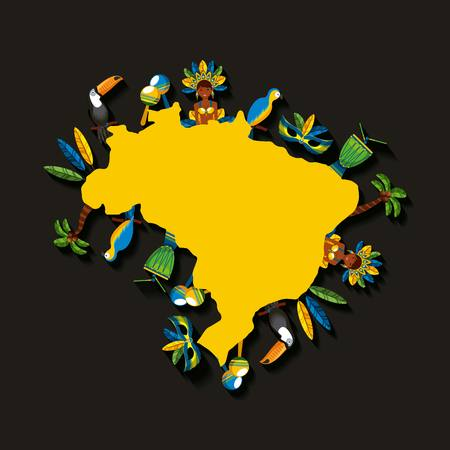 brazil country map with brazilian culture iconics around over black background. vector illustration