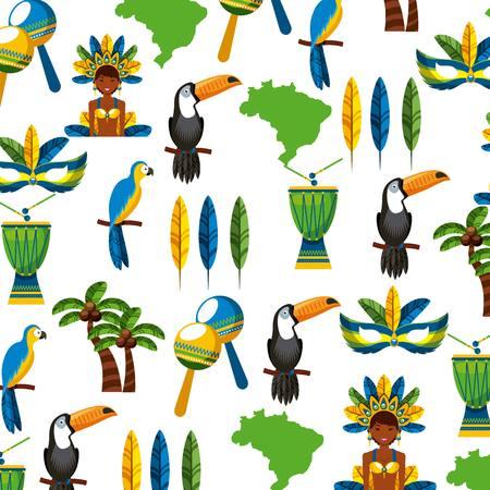 background of brazilian culture icons. colorful design. vector illustration Vektorové ilustrace