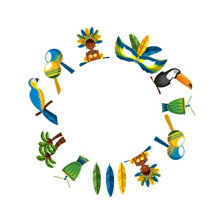 brazilian culture icons in circle shape over white background. colorful design. vector illustration