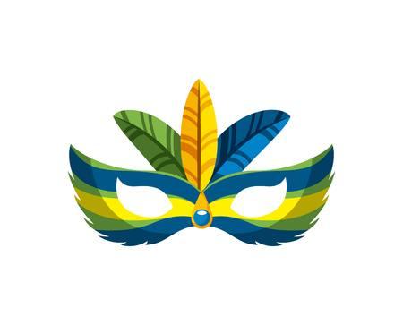 brazilian festival mask accessory icon over white background. brazilian culture concept. colorful design. vector illustration Illustration