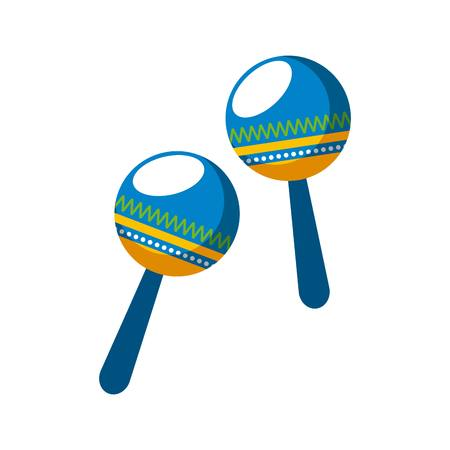 maracas musical instrument. brazilian culture concept. colorful design. vector illustration