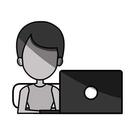 using laptop: man avatar using laptop vector illustration design