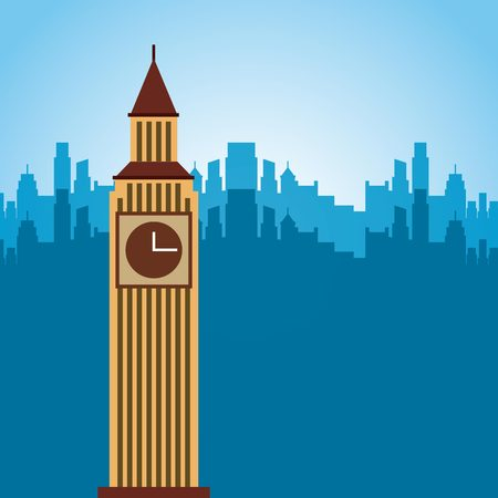 big ben monument of london city. colorful design. vector illustration