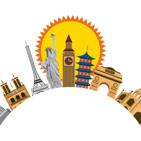 iconics monuments of the world and sun icon over white background. colorful design. vector illustration