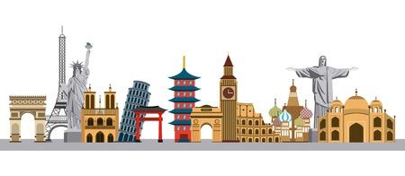 monumentos icónicos del mundo sobre fondo blanco. diseño colorido. ilustración vectorial