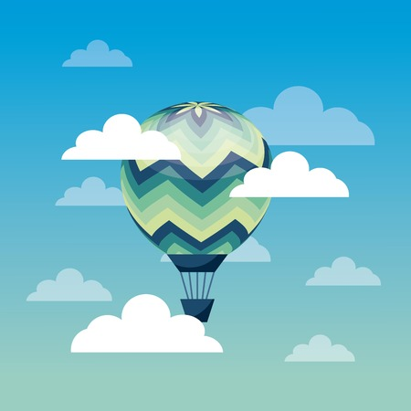 hot air balloon flying on the sky. colorful design. vector illustration