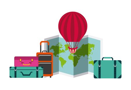 air balloon and travel suitcases over white background. colorful design. vector illustration