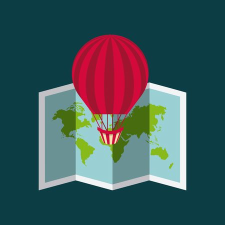 air balloon and world map icon. colorful design. vector illustration Illustration