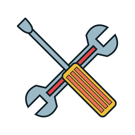 adjusting activity: wrench and screwdriver tool isolated icon vector illustration design Illustration