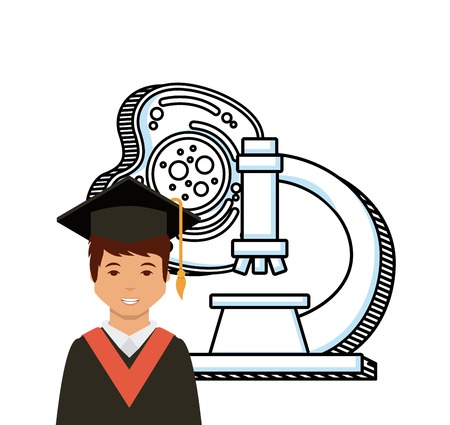 cartoon graduate man  over microscope icon and white background. colorful design. vector illustration