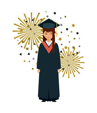 cartoon graduate woman with graduation gown and hat icon over white background. colorful design. vector illustration