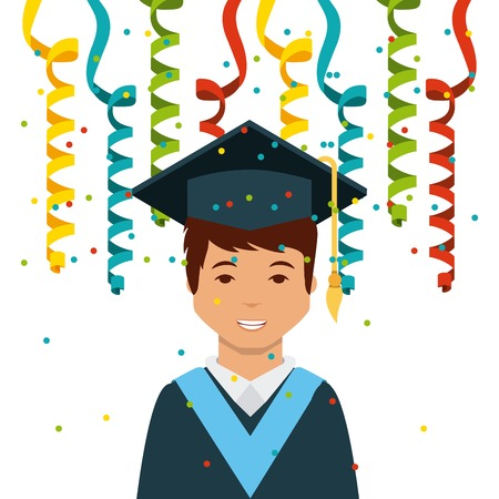 cartoon graduate man smiling and decorative serpentine over white background. colorful design. vector illustration Illustration