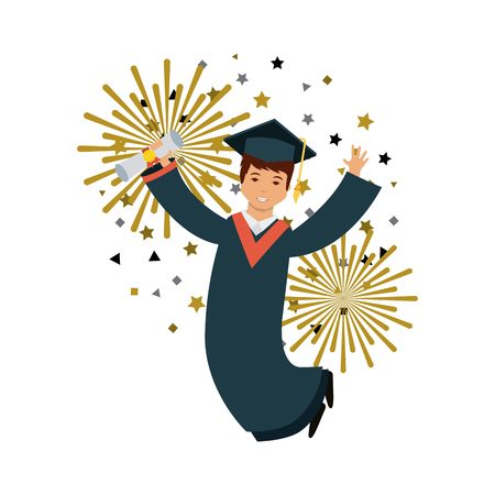 cartoon graduate happy man jumping icon over white background. colorful design. vector illustration