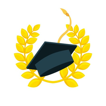 graduation cap with decorative wreath of leaves in gold color over white background. vector illustration