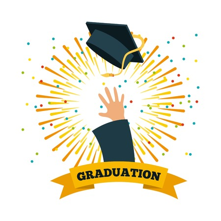 hand throwing graduation cap over white background. colorful design. vector illustration