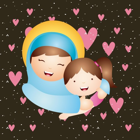 virgin girl: cartoon virgin mary hugging a girl. catholic love design. vector illustration Illustration