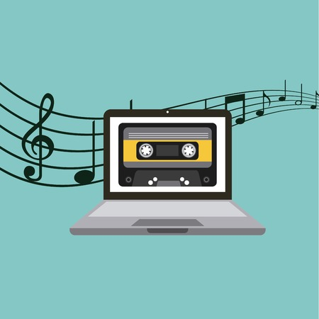 casette: laptop computer with casette tape icon on screen over blue background. music and technology concept. colorful design. vector illustration